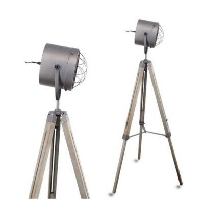 Lámpara de pie trípode RUFO gris E27