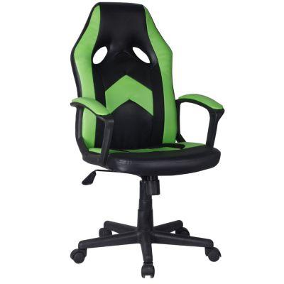 Silla gamer verde y negro