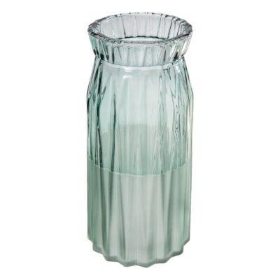 Florero decorativo de vidrio verde 11 x 24 cm