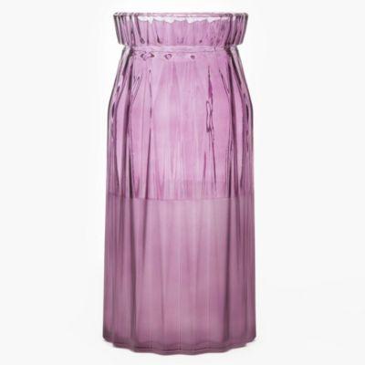 Florero decorativo de vidrio violeta 11 x 24 cm