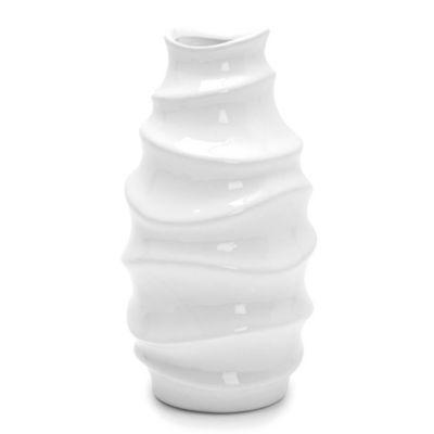 Florero decorativo de cerámica white 11 x 21 cm