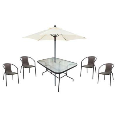 Juego de exterior Río chocolate mesa + 4 sillas + sombrilla