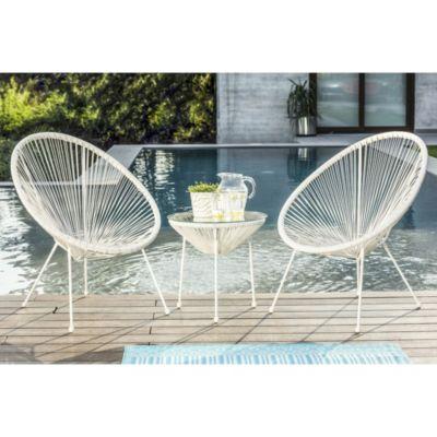 Juego de exterior Cozumel blanco mesa + 2 sillas